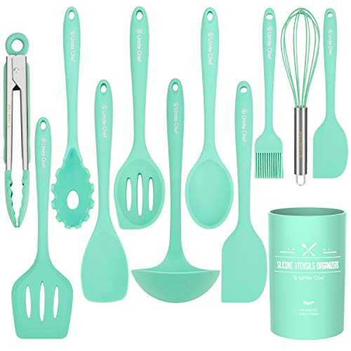 Kitchen Utensil Set - 12 Cooking Utensils Set- Colorful Silicone Kitchen Utensils - Nonstick Cookware with Spatula Set - Kitchen Tools Kitchen Gadgets with Utensil Crock by Umite Chef(Green-12 PCS)