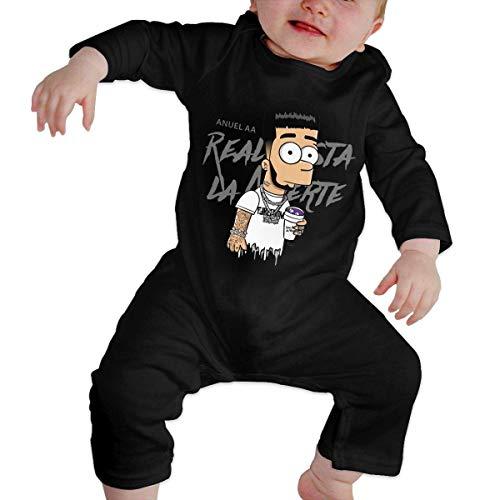 Henrnt Anuel-AA Mono para bebé niña Mono para bebé Recién Nacido Mono de algodón de Manga Larga Negro