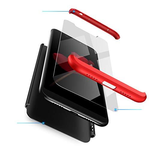 sigua Funda Compatible Xiaomi Redmi S2, 3 in 1 Slim Fit Protectora Cover Caso Carcasa Choque Resistente 360 Grados Protección Ultra Slim Cubierta PC Hard Case + Cristal Templado,Rojo & Negro