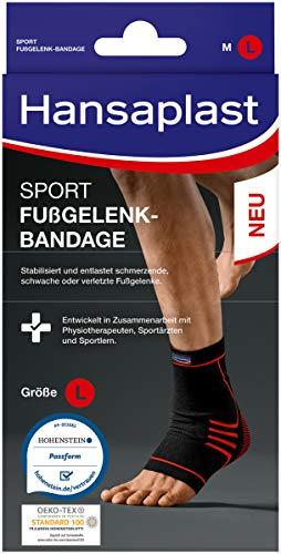 Hansaplast Sport Fußgelenk-Bandage, Sprunggelenkbandage schont und unterstützt das Gelenk, Knöchelbandage passend für das rechte und linke Fußgelenk, Größe L/XL