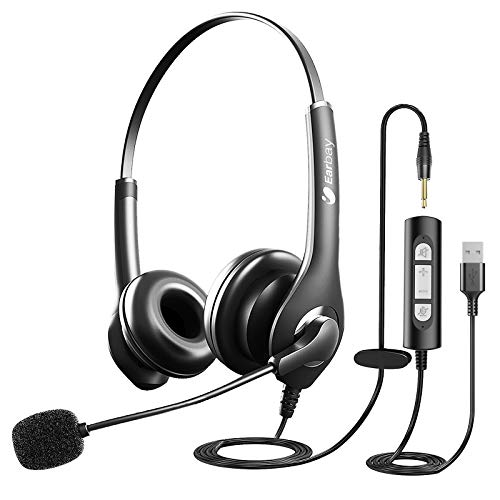 Upgraded USB 3.5mm 2 in 1 Corded Stereo Headset With Crystal Microphone Noise Cancelling,Volume Control,Mute Button For Home,Office,Binaural Headphones For Call Center,Computer,IPad,Zoom,Skype,Webinar