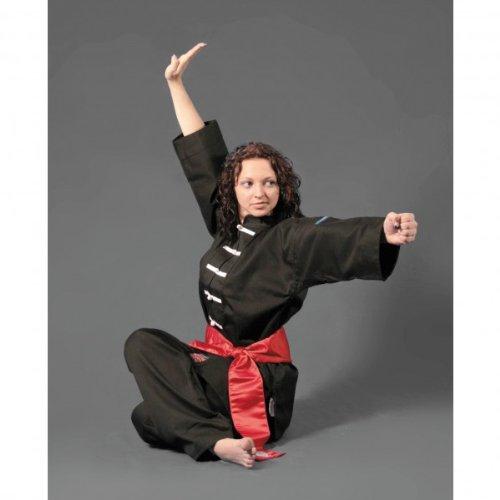 DEPICE Kung Fu Anzug China schwarz Baumwolle, weiße Knöpfe, Größe 160