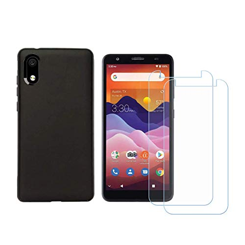 Tznzxm Screen Protector for ZTE Avid 579 Tempered Glass [2-Pack], Case for ZTE Avid 579 Cover,Flexible TPU Scratch Resistant Non-Slip Back Cover Rubber Slim Phone Case for ZTE Blade A3 2020 Black
