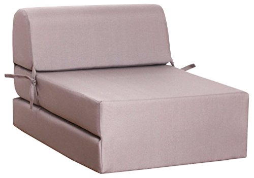 CANAPES TISSUS Enjoy 1 Chauffeuse Canapé-Lit, Polyester, Taupe, 60 x 78 x 48 cm