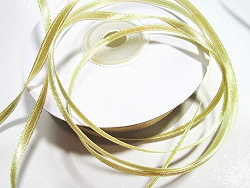 CaPiSo® 100m 3mm Breit Satin Schleifenband Geschenkband Satinband Dekoband Hochzeit Weihnachten (Helles Gold)