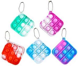 5 Pcs Fidget Toys Stress Relief Hand Toys Simple Toy for Kids Adults, Mini Pop Push it Bubble Fidget Sensory Toys Office Desk Toy