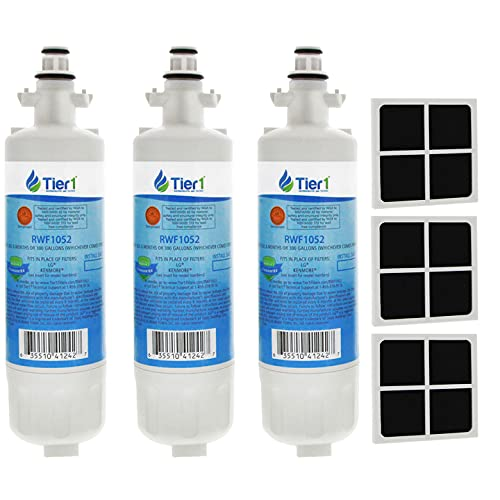 Tier1 Refrigerator Water & Air Filter Combo Replacement for LG LT700P ADQ36006101, ADQ36006102, Kenmore 46-9690, LT120F - with Activated Carbon Media to Reduce Chlorine Taste and Odor - 3 Pack