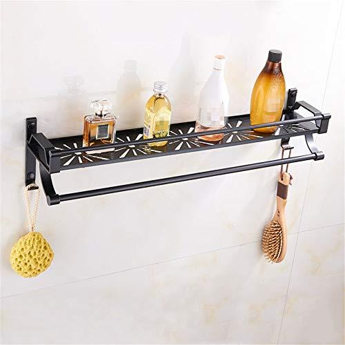 MAATCHH Estante de Baño Plataforma de baño con riel de Aluminio del Espacio Rectangular baño Ducha Cesta Organizador montado en la Pared baño para Baño de Cocina (Color : Silver, Size : 60cm)