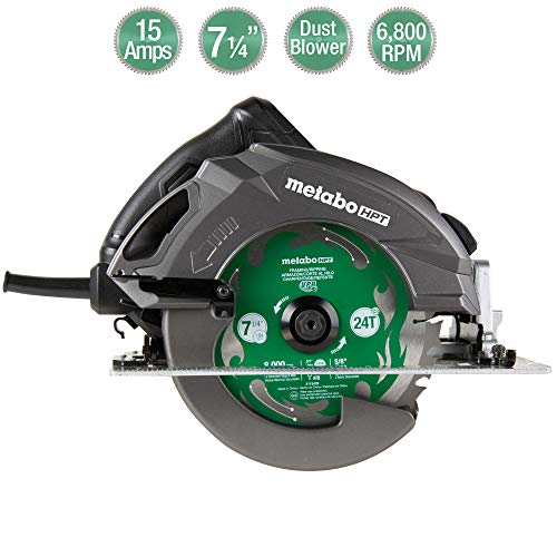 "Metabo HPT 7 1/4' Circular Saw ""Ripmax"" Kit, 6,800 Rpm, 15-Amp Motor, Dust Blower Function, 24T Premium Framing VPR Blade, Unique Cord Hook, Carrying Bag, 5-Year Warranty (C7UR)"