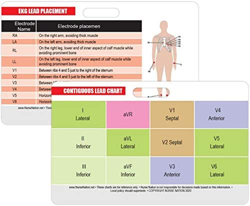 STEMI 12 Lead Reference and 12 Lead EKG ECG Placement Reference Horizontal Badge Card Excellent product image