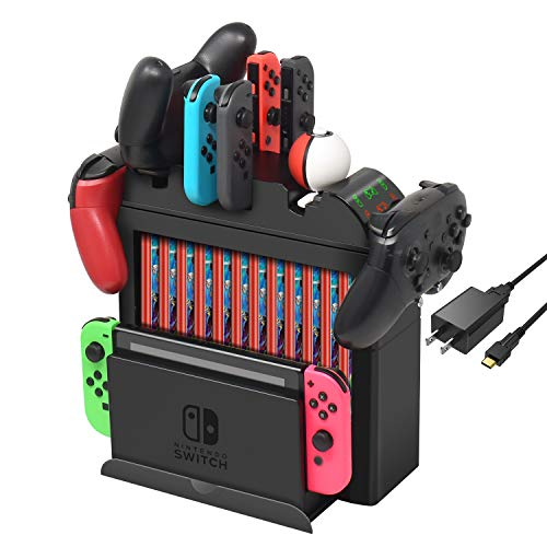 FastSnail Charger Compatible with Switch Pro Controller, Joy Consa and Poke Ball Plus Controllers, All in One Charging Station Display Stand Compatible with Switch Accessories with AC Adapter