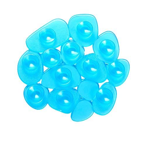 MSV Duschmatte Badematte Badewanneneinlage Anti Rutsch Pads Kieselstein - 4 Stück - antibakteriell Rutschfest mit Saugnäpfen - Blau Transparent - ca. 13 x 11 cm
