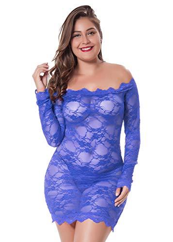 LINGERLOVE Womens Regular and Plus Size Chemise Floral Lace Off Shoulder See Through Bodysuit Lingerie (Blue, 1XL-2XL)