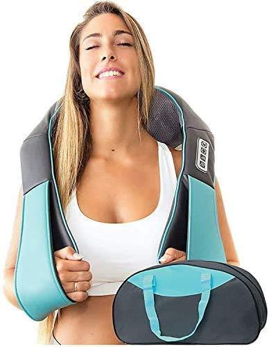 Shiatsu-Rücken Schulter- und Nackenmassagegerät mit Wärme - Knetkissen- Massagegerät für Nacken, Rücken, Schultern, Fuß, Beine - elektrische Ganzkörpermassage - Massagekissen