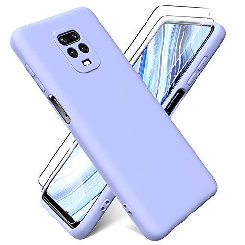 Oududianzi - Funda para Xiaomi Redmi Note 9S / Note 9 Pro + [2 Pack] Protector Pantalla, Carcasa de Silicona Líquida Gel Ultra Suave Funda con tapete de Microfibra Anti-Rasguño - Púrpura