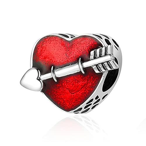 Genuino 925 Plata De Ley Red Love Heart First Love Arrow Charm Beaded Colgante Fit Pulsera Original Collar Beads DIY Jewelry Making