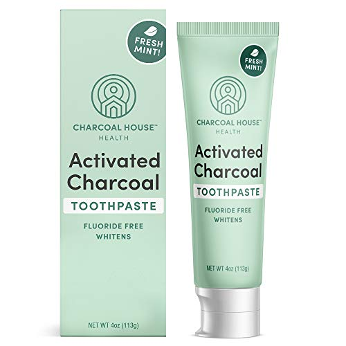 Activated Charcoal Whitening Toothpaste by Charcoal House | Fresh Mint Flavor, Made in USA, Fluoride Free, Natural Ingredients, Excellent Cigarette and Coffee Stain Remover, Bad Breath