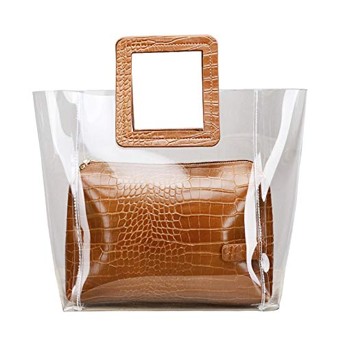 YCUDS Transparent Ladies Top Handle Bag Purse,Women's Small Tote Beach Bags,Fashion Clear Jelly Handbags