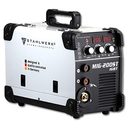 Stahlwerk MIG 200 ST IGBT - Equipo de soldadura de gas de protección Mig Mag con 200 amperios, apto para alambre relleno Flux, con mano de electrodos MMA, color blanco