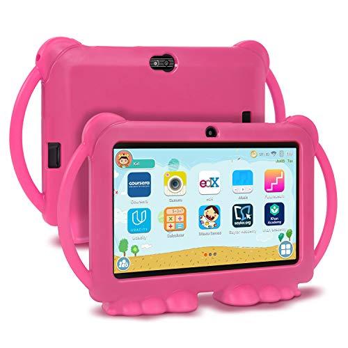 Xgody Kids Edition Tablet, 7-Zoll-HD, Kindersicherung,Für die Internet Cloud Klasse,Android 8.1 GMS, 16 GB, Quad Core, Pinke kindgerechte Hülle