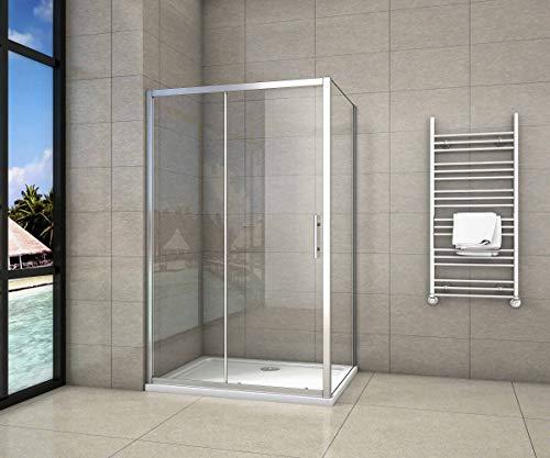 Cabina de Ducha Rectangular Puerta Corredera Cristal Templado 5 MM 140x80x185cm