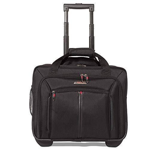 Aerolite Bolsa de Negocios para Equipaje de Cabina Ejecutivo con Ruedas - Aprobado para Ryanair, Easyjet, BA & Jet2, Negro (Negro)