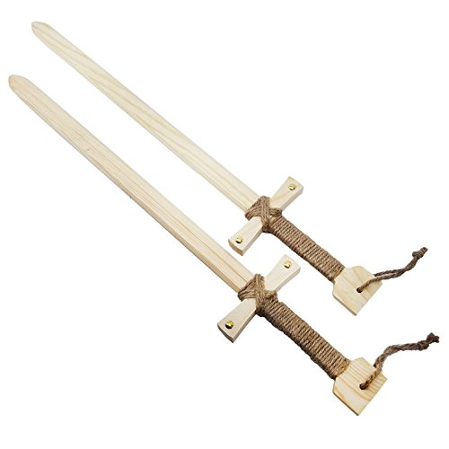 Adventure Awaits! - 2-Pack - Wooden Toy Sword - Knights of The Round Table Style - Handmade - Lightweight Wood Toy Swords Set for Outdoor Play