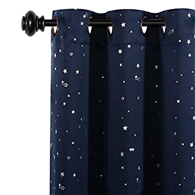 """H.VERSAILTEX Blackout Curtains Kids Room for Boys Girls Thermal Insulated Twinkle Silver Stars Pattern Curtain Drapes, Grommet Top, 1 Panel, 52"""" W x 63"""" L, Navy"""