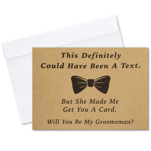 Teling 8 Pieces Groomsmen Proposal Cards 7 Pieces Will You Be My Groomsman Funny Cards and 1 Piece Will You Be My Best Man Card with Envelopes for Wedding Supplies, 5 x 7 Inch