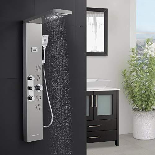 BONADE Edelstahl Duschpaneel mit Thermostat, Duschsystem mit 5 Duschfunktionen, Duschset mit LCD Display der Wassertemperaturanzeige, Duschsäulen Gebürstetes Silber