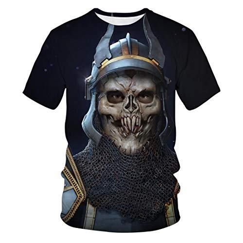 Zaima 3D Digital Skull Print T-Shirt Men's Shirt Casual Round Neck Short Sleeve