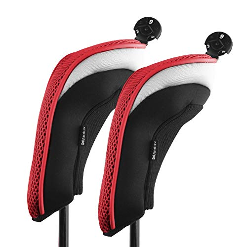 Andux 2 Pack Golf Hybrid Club Head Covers Interchangeable No. Tag MT/hy01 Black & Red