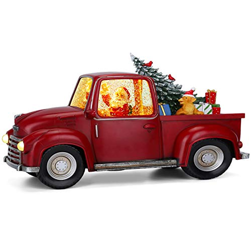Christmas Red Truck Christmas Tree Santa Claus Driving Car Lighted Swirling Glitter Snow Globe Kids Toy Vintage Truck Christmas Decor