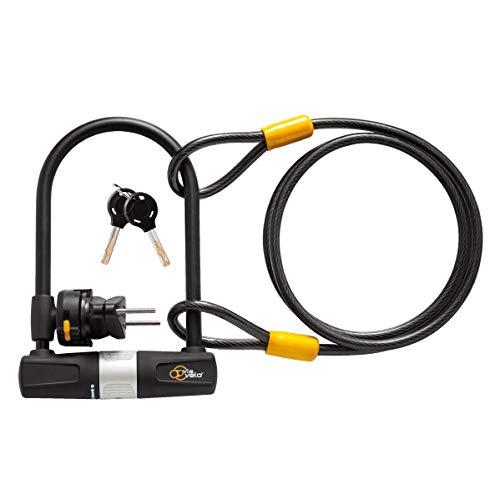 Fahrrad-U-Verschluss mit Kabeln Heavy Duty Fahrrad U-Lock, 14mm Schäkel und 10mm x1.8m Kabeln mit Befestigungswinkeln for Rennrad Mountainbike Elektro-Bike Faltrad, Groß Fahrrad-Sicherheits-Tool ZHANG