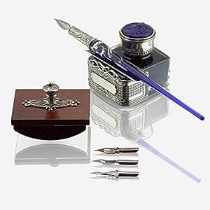 Bortoletti Fonderia Artistica - Juego de caligrafía Canaletto de cristal de Murano (azul)