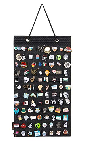 Hanging Brooch Pin Organizer, Display Pins Storage Case, Brooch Collection Storage Holder, Holds Up to 96 Pins.(Not Include Any Accessories) (S-96 Slots, Black)