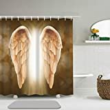 Abili Shower Curtain Golden Angel Wings Background Home Bathroom Decor Waterproof Polyester Fabric 72 x 72 inches Set with Hooks