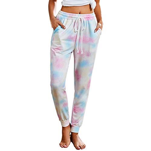 Bluestercool Pantalons de Jogging Femmes Pantalons de Survêtement Long pour Running Fitness Training Élastique Imprimé Plissé Tie-Dye Taille Haute Pants S-XL
