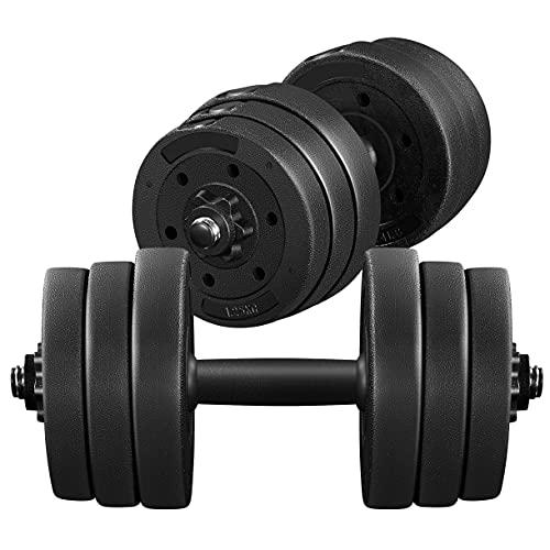 Yaheetech Juego de Mancuernas Ajustables 20kg Kit Pesas y Mancuernas con Pesa Barra para Casa o Gimnasio Fitness