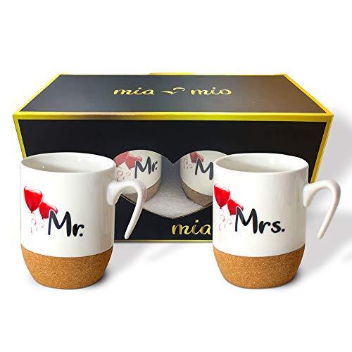 MIAMIO - Regalo para Pareja Nupcial Mr & Mrs/Set de Regalo de Boda/Tazas de Café Set con Corcho (Pareja II)