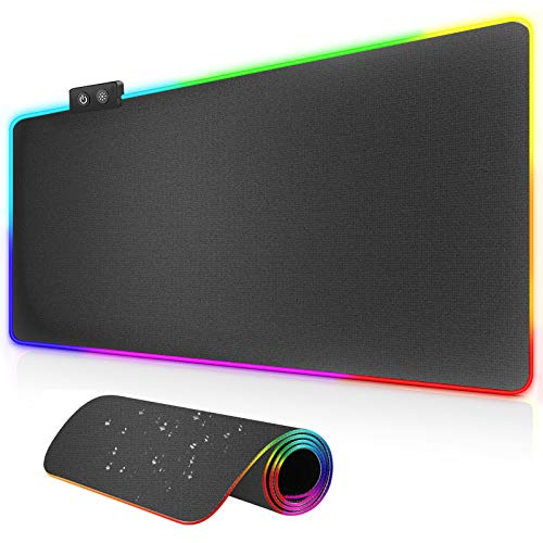 Hvfpysn RGB Gaming Mouse Pad,LED Soft Extra Extended Large Mouse Pad with 14 Lighting Modes,One Touch Control,Water-Resistant,Anti-Slip Rubber Base,Computer Keyboard Mousepads