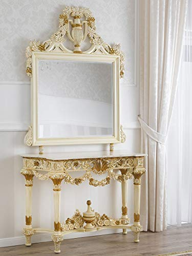 Simone Guarracino Console avec Miroir Marcela Style Baroque Décapé Ivoire Vieilli et Feuille Or marbre crème