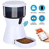 Automatic Cat Feeder,WiFi Smart Pet Feeder Dog Food Dispenser, HD Camera for Voice and Video Recording, App Control for iPhone and Android , Timer Programmable Up to 4 Meals a Day,Dual Power Mode