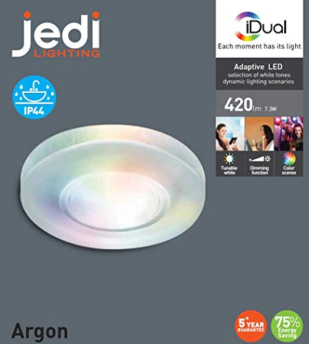 iDual-LED-Deckeneinbauleuchte Argon; Warmweiß bis Kaltweiß; Dimmfunktionen; Multicolor-Umgebungs- und Stimmungslicht.