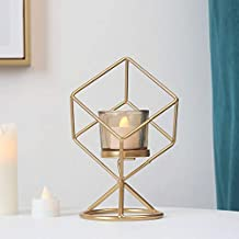 NFSWMHLE Geometry Rhombus Decorative Candle Holder for Candles Iron Candle Stick Metal Crafts Ornament Home Decor Candelab...
