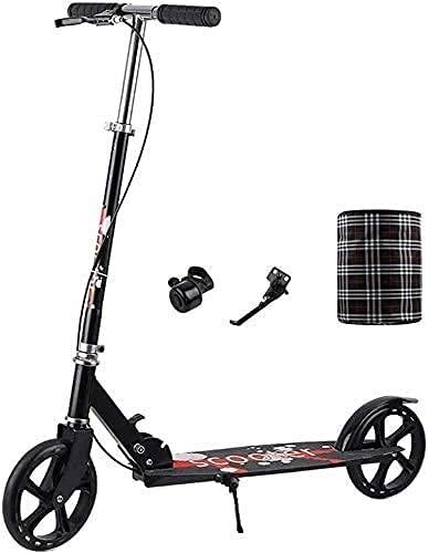 monopatín Patinete Scooter de la Rueda Grande portátil | Scooter de Patada Plegable con la Mano de Mano | Ajustable Altura Ciudad Push Push Scooter de cercanías (Color : Black)