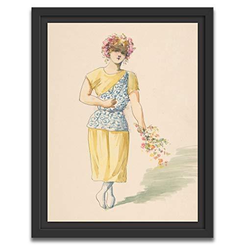 Printed Paintings Marco Americano (40x55cm): Charles Bianchini - Disfraz para un Joven en Amarillo y Azul