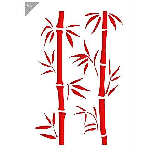 Bambus Zweige Schablone - Plastik - A3 42 x 29,7cm - Bambushöhe 36cm - wiederverwendbare kinderfreundliche Schablone für Malerei, Handwerk, Wände und Möbel