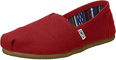 Toms Womens Classic Canvas Red Canvas Ankle-High Canvas Flat Shoe - 7M