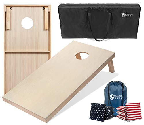 Tailgating Pros 4'x2' Cornhole Boards w/Carrying Case & Set of 8 Cornhole Bags (You Pick Color) 25 Bag Colors! (Stars/Stripes, 4'x2' Boards)